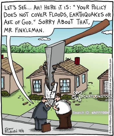 'Let's see... Ah! Here it is: 'Your policy does not cover floods,earthquakes or axe of god.' Sorry about that, Mr. Finkleman.'